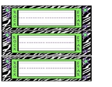Rock Star Name Plates with zebra print in lime green and p