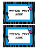 Rock Star Name Tags- Cubbie {cubby} Tags-Editable