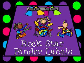 Rock Star Organizational Student Binder Labels