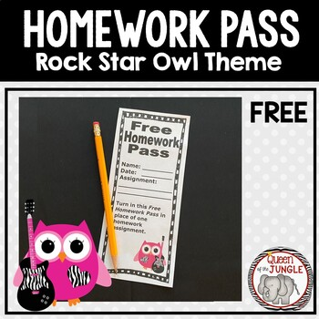 Homework Pass Rock Star Owl Theme Free
