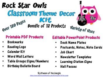 Classroom Decor Kit - Rock Star Owl