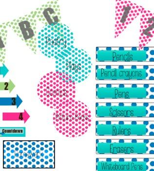 Rock Star Polka Dot Classroom Display Pack