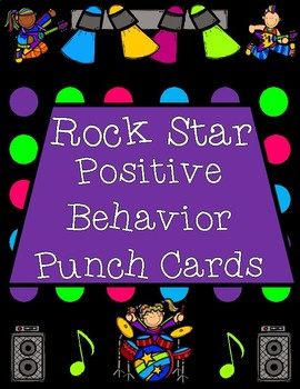 Rock Star Positive Behavior Punch Cards