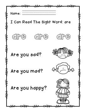 """Rock Star Reader Program: Sight Word  """"are"""""""