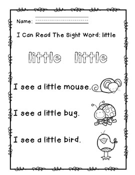 "Rock Star Reader Program: Sight Word  ""little"""