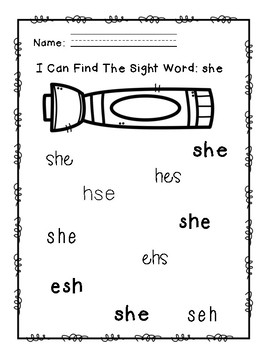 """Rock Star Reader Program: Sight Word  """"she"""""""