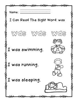 """Rock Star Reader Program: Sight Word  """"was"""""""