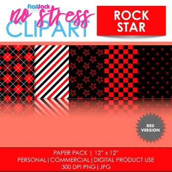 Rock Star (Red) Digital Papers