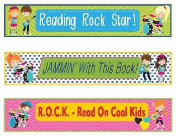 Rock Star Rockstar Bookmarks, Shelf Markers or Desk Name Plates - EDITABLE