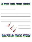 Rock Star Teacher Stationery