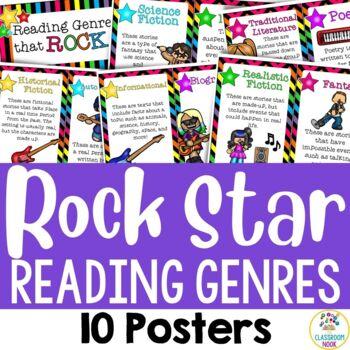 Rock Star Theme: 10 Reading Genre Posters