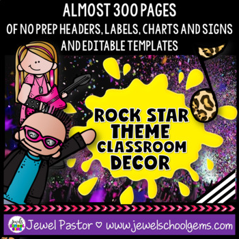 Rock Star Theme Classroom Decor EDITABLE (Rock Star Classroom Theme)