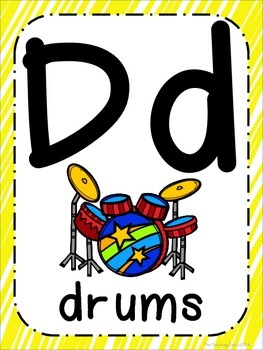Rock Star Theme ABC Posters - Large, Small & Flashcards