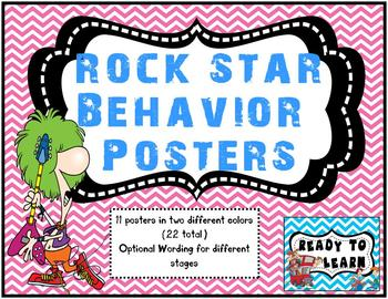Rock Star Theme Behavior Tracking Posters
