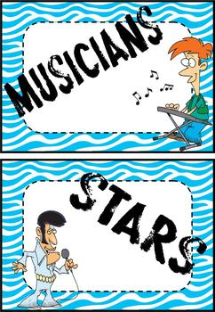 Rock Star Theme Centers Group Signs