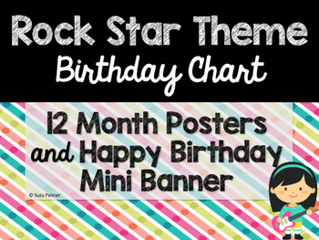 Rock Star Theme Classroom Decor Birthday Chart By Suzy Palmer