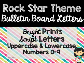 Rock Star Theme Classroom Decor: Bulletin Board Script Letters