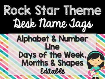 Rock Star Theme Classroom Decor: Desk Name Tags