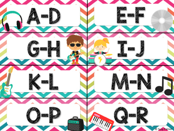 Rock Star Theme Classroom Decor: Library Level Labels
