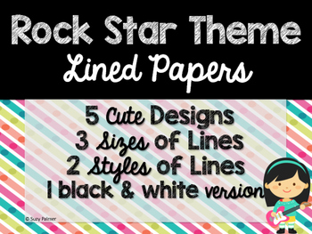 Rock Star Theme Classroom Decor: Lined Papers
