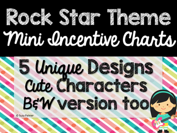 Rock Star Theme Classroom Decor: Mini Incentive Charts