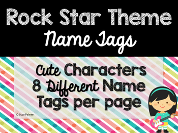 Rock Star Theme Classroom Decor: Name Tags