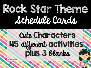 Rock Star Theme Classroom Decor: Schedule Cards