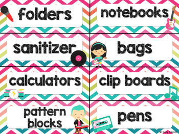 Rock Star Theme Classroom Decor: Supply Labels