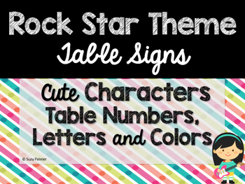 Rock Star Theme Classroom Decor: Table Signs