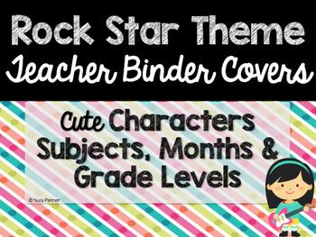 Rock Star Theme Classroom Decor: Teacher Binder Covers