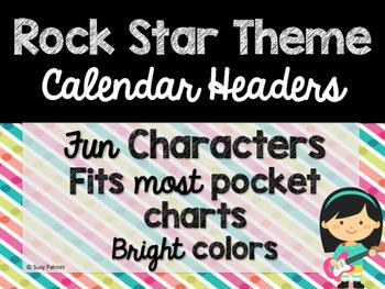 Rock Star Theme Classroom Decor: Calendar Headers