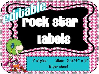 Rock Star Theme Labels *editable*