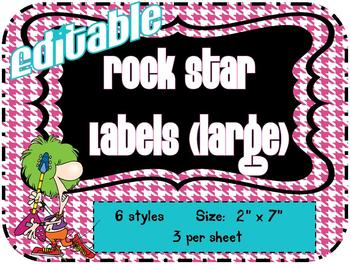 "Rock Star Theme Labels (large 7"" x 3"") *editable*"