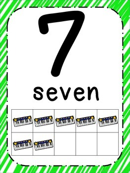 Rock Star Theme Number Posters 0-20 - Large, Small & Flashcards
