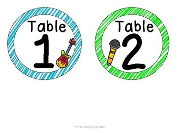 Rock Star Theme Table Numbers