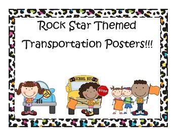 Rock Star Themed (Animal Print) Transportation Posters