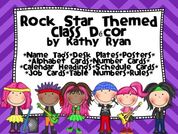 Rock Star Themed Class Decor Pack with Bright Chevron