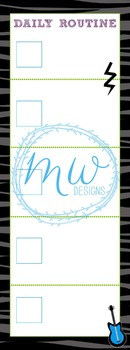 Rock Star Themed Daily Routine Bookmark