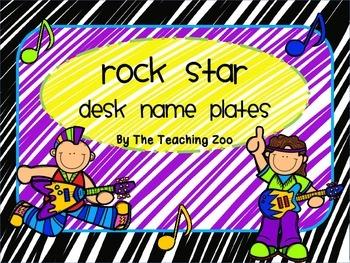 Rock Star Themed Desk Name Plates