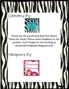 Rock Star Themed Desk Name Plates 3.5 x 8.5