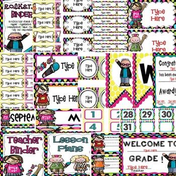 Rock Star Themed Editable Classroom Decor Set {Editable Labels, & Banner}