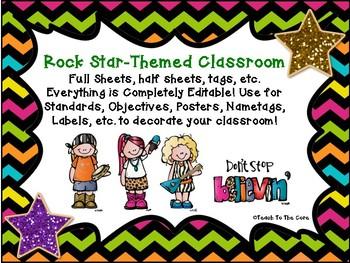 Rock Star Themed Editable Classroom Pack