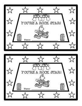 Rock Star Themed Punch Cards