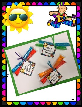 Rock Star Themed Summertime End of Year Popsicle Treat Tag