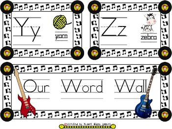 Rock Star Theme ~ Word Wall Alphabet Cards