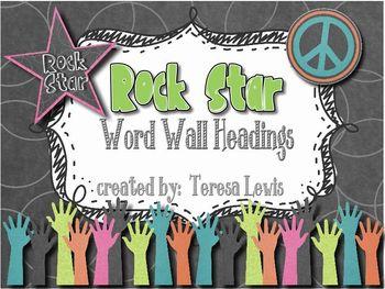 Rock Star Word Wall Headings