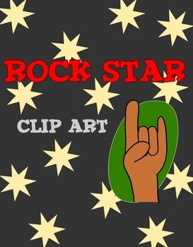 Rock Star clip art set with border