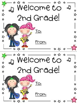 Rock Star theme - First day of school card -Back to School