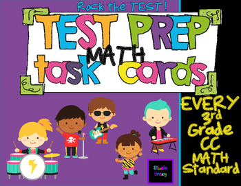 Rock The Test - Test Prep Task Cards Bundle - EVERY 3rd Grade Math CCSS
