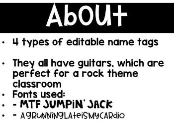 Rock Theme Name Tags